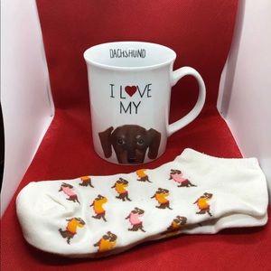Other - Dachshund Coffee Mug Ceramic With Dachshund Socks